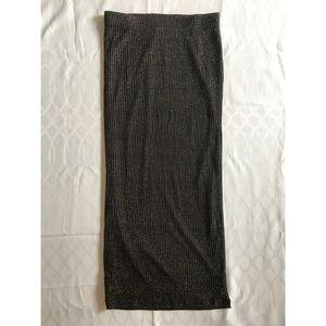 NWOT Bardot black w/Gold shimmer long pencil Skirt